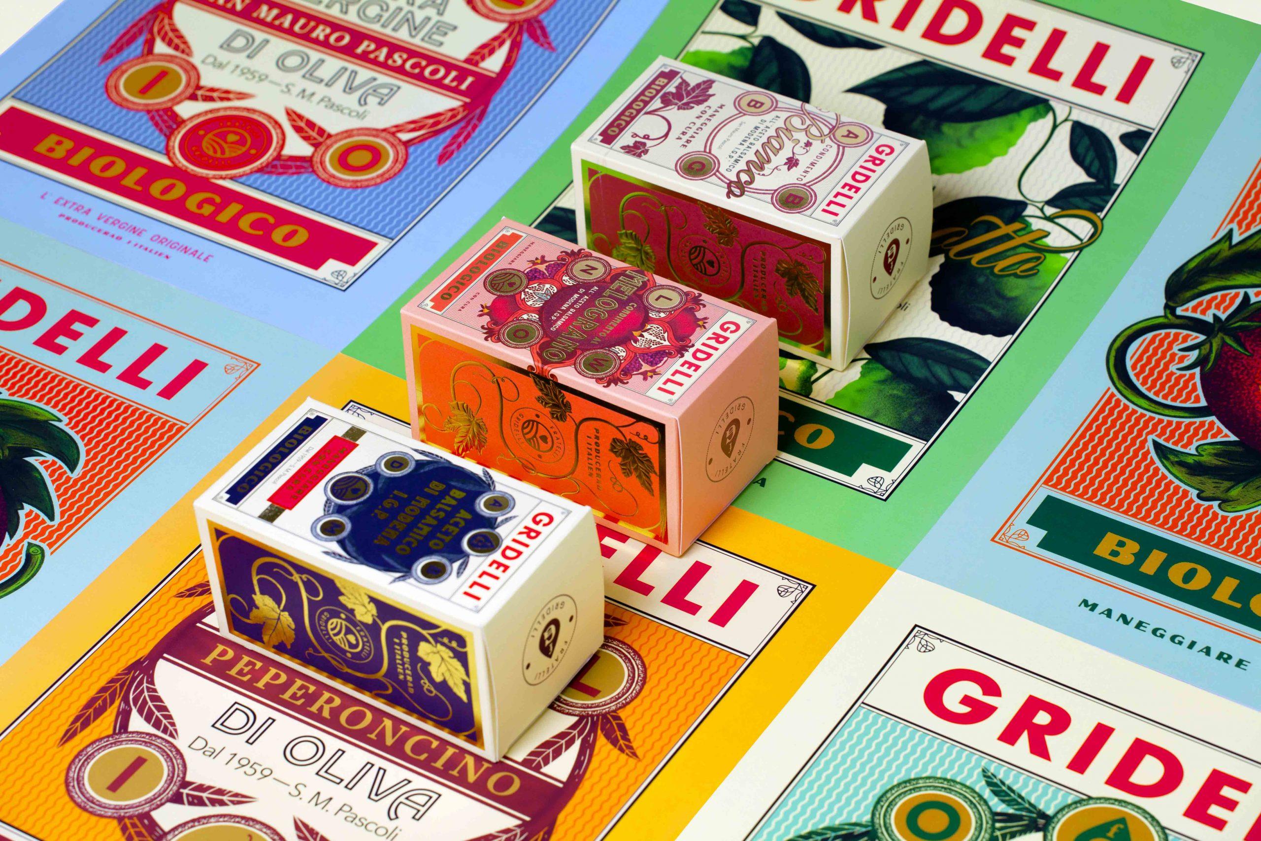 Färgsprakande bild på Gridellis förpackningar