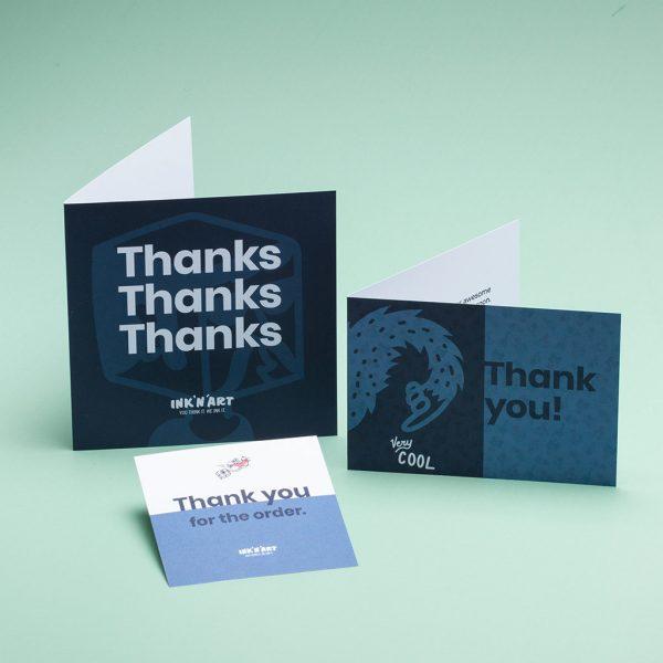 Egendesignade tackkort i olika format och färger